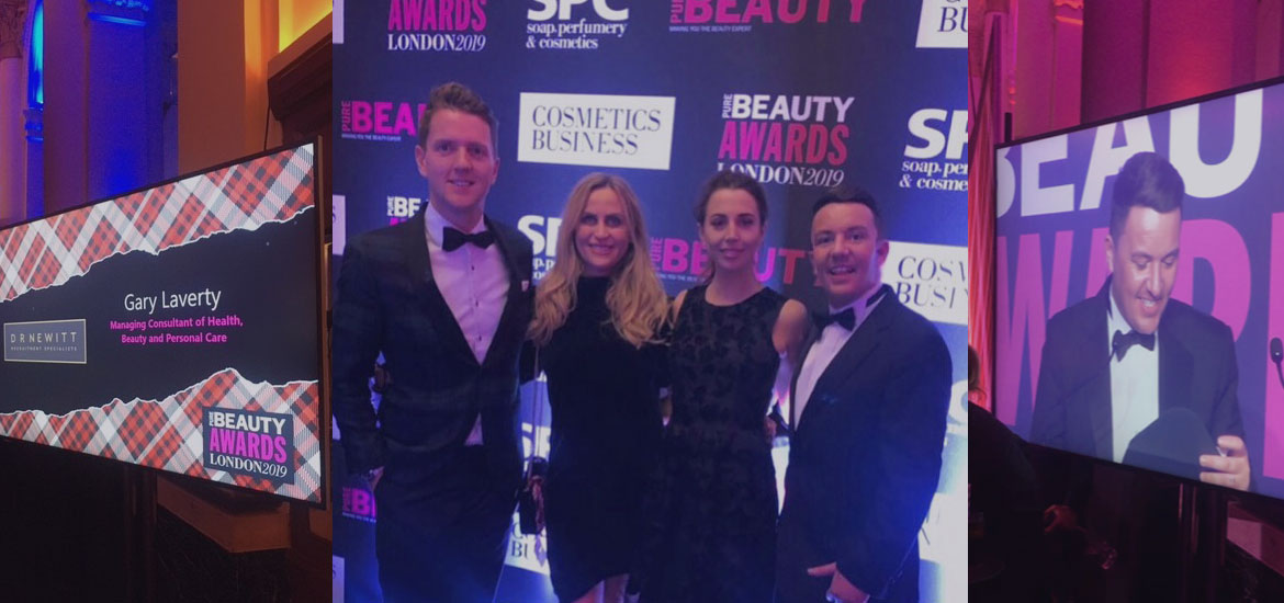 D R Newitt at the PURE Beauty Awards 2019